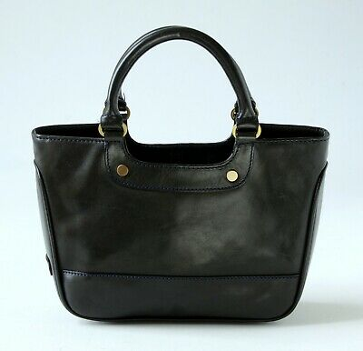 Vintage CARRIAGE By Jane Shilton SMART BLACK LEATHER TOTE / GRAB BAG Small Size • 39£