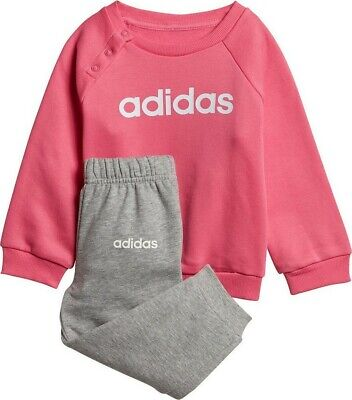 Adidas Girls Linear Fleece Tracksuit Infant Full Set Pink/Grey Jog Suit 3-4years • 19.95£