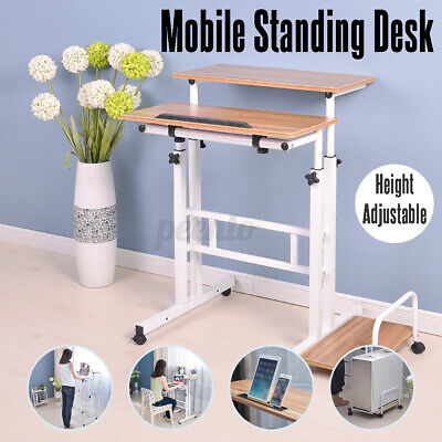 AU128.99 • Buy Mobile Stand Desk Workstation Cart Stand Up Office Home Table Height Adjustable