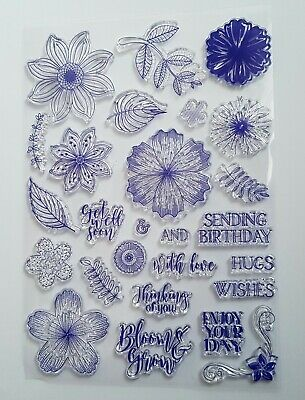 Flowers, Leaves, Sentiments Clear Stamp Set - Large Sheet Of Stamps • 4.99£