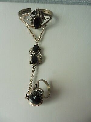 Beautiful, Old Ring Bracelet, Indian Jewelery, 925 Silver With Onyx • 99.80£