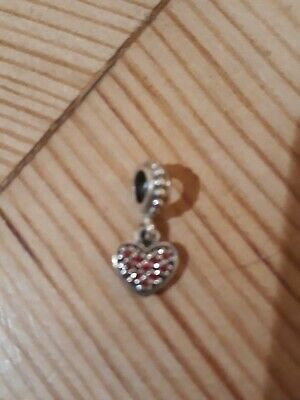 Genuine Pandora Drop Heart Charm In Sterling Silver With Red Cubic Zirconia... • 15£