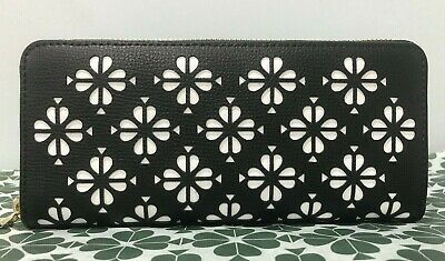 $ CDN95.57 • Buy Kate Spade Sylvia Perforated Slim Continental Zip Wallet Black Leather New $178