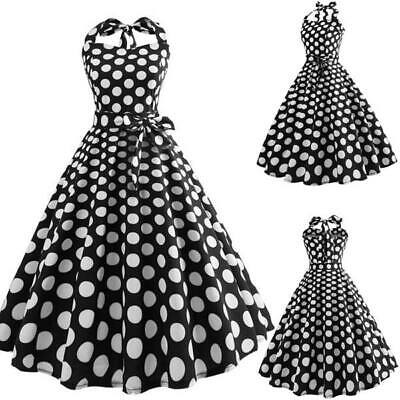 Women Dresses Party Summer Polka Dot Sleeveless Swing Evening Retro Halter Dress • 14.25£