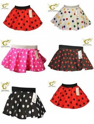 Girls Dance Fancy Dress 50's 60's Grease Skirt Polka Dot Spotted Age 5-8 Years • 3.99£