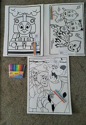 £7.99 • Buy 3 Large Thomas, Pj Mask, & Scooby Doo Velvet Colouring Picture Boards + 16 Felts