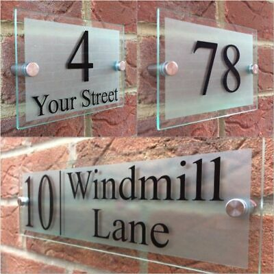 £24.99 • Buy Modern House Sign Plaque Door Number Street Glass Effect Acrylic House Name