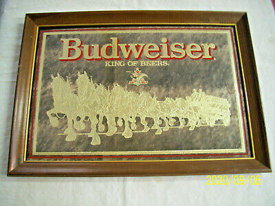 $ CDN79.10 • Buy Vintage Budweiser Clydesdale Bar Mirror Sign 20 1/2 X15 Smoked Glass Gold
