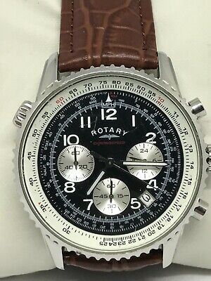 Rotary GS03351/19 Gents Stainless Steel Chronograph With Brown Leather Strap • 50£