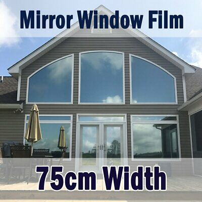 Silver Reflective One Way Mirror Window Film Mirrored Privacy Glass Tint 75CM • 12.98£