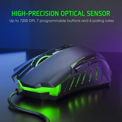 AU26.89 • Buy Razor Rainbow RGB LED Gaming Mouse USB Wired Programmable 7 Button Mice Gamer