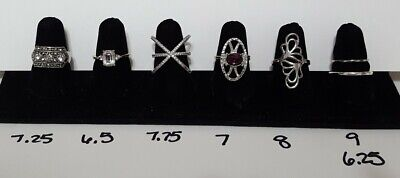 $ CDN38.21 • Buy Vintage Now Rhinestone Cocktail Ring Lot Unsearched Untested Estate Find Wear