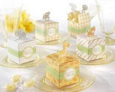12 Baby Jungle Animals Favour Box Baby Shower Party Christening Naming Day • 5£