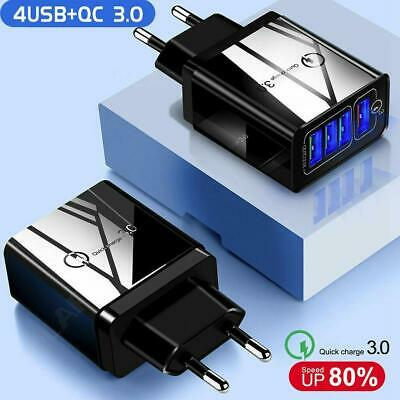 4 Ports USB Fast Charging Smart Mobile Phone Wall Charger Adapter Q3.0 • 4.39£