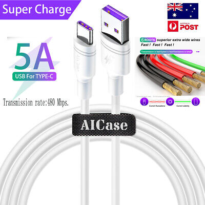 AU8.99 • Buy Quick Charging Cable Flash Charging Double-ring USB Data Cable Type-C 5A