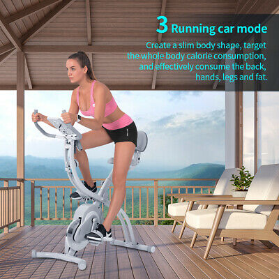 Foldable Exercise Bike LCD Monitor Fitness Cardio Machine Spinning Flywheel UK • 152.99£