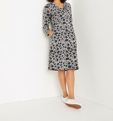 NEW RRP £55 Ex White Stuff Morie Jersey Dress In Charcoal Print • 28.99£