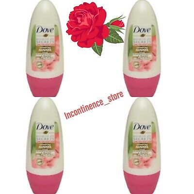 4 X Dove Nourishing Secrets Refreshing Summer Ritual Rose Water Roll On 50 Ml • 13.95£