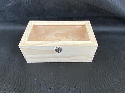 12 Compartment Pine Wooden Box Transparent Top Display Storage Decoupage Arts  • 6.99£