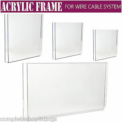 Easy Access Acrylic Poster Holder Retail Shop Window Wire Cable Display Stand • 5.49£