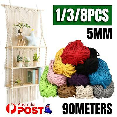 AU12.99 • Buy 1/3/8PCS 5mm Macrame Rope Natural Beige Cotton Twisted Cord Artisan Hand Craft