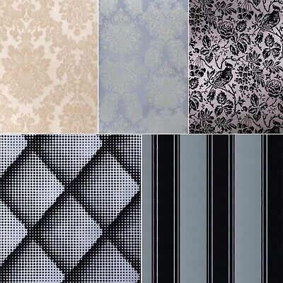 Exclusive Flock Damask Stripe And Geo Velvet Black Grey Cream Glitter Wallpaper • 19.99£