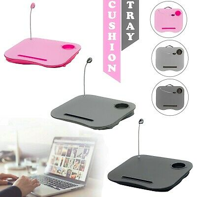 Laptop Tray Cushion With Easy Reading Table CupHolder And LED Light Work Station • 9.19£