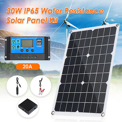 30W Flexible Solar Panel With USB Car Charger 20/40A Controller For Car Boat • 20.99£