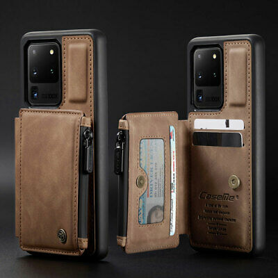 $ CDN14.32 • Buy Shockproof Leather Credit Card Zipper Wallet Back Case For Samsung Galaxy Phone