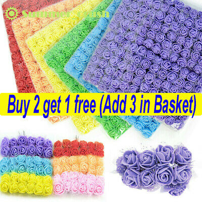 144Pcs Mini Artificial Flowers Small Foam Rose Heads Wedding Party Decor Bouquet • 5.99£