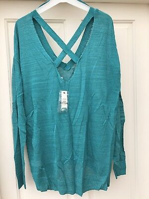 River Island Green Slouchy Knit V- Neck Jumper Size 12 New • 30£