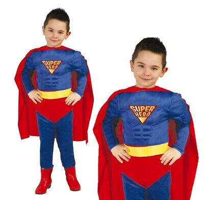 Boys Childrens Super Hero Costume Fancy Dress Muscle Chest Halloween Book Day UK • 17.99£