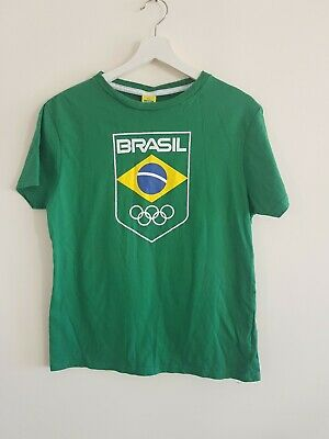 Brazil Olympic T Shirt Small Green <EE4122z • 4.99£