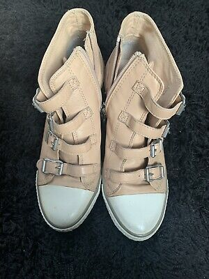 Ash Leather Wedge Buckle Trainers Size 5 Taupe Light Pink Soft Leather • 18.90£