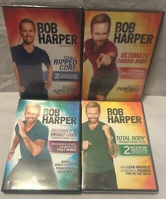4 Bob Harper Workout Exercise Fitness DVD Lot, Weight Loss, Ultimate Cardio Body • 14.18£
