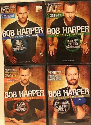 4 Bob Harper Workout DVD Lot Kettlebell Sculpted Body Yoga For The Warrior Burn • 13£