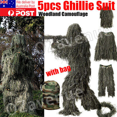 AU43.95 • Buy Xhunter Ghillie Suit 5Pcs Woodland Camouflage Hunting Archery Sniper Clothing