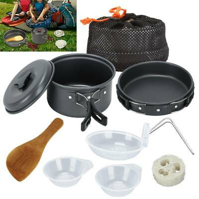 £11.99 • Buy 8Pcs/Set Portable Camping Cookware Kit Outdoor Picnic Hiking Cooking Equipment@
