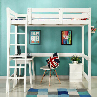 3FT High Sleeper Cabin Bed Pine Adult Kids Loft Bed Wooden Bunk Bed Frame Ladder • 185.95£