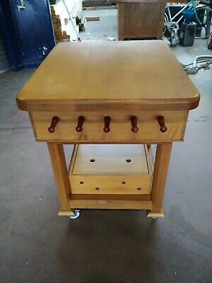 Kitchen Island In Solid Oak With Original Maple Butcher's Chopping Block • 500£