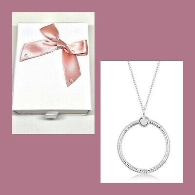 🇬🇧💜💜925 STERLING SILVER MEDIUM O PENDANT & NECKLACE 45cm WITH GIFT BOX • 29.99£
