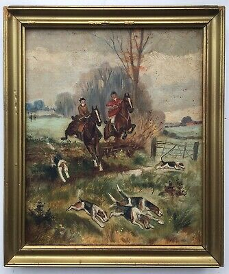 Original Antique Oil On Canvas Painting Of Hounds & Horses, Fox Hunting Scene 1 • 171£