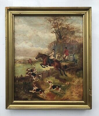 Original Antique Oil On Canvas Painting Of Hounds & Horses, Fox Hunting Scene 2 • 171£