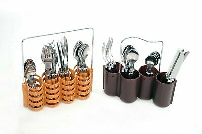 24 Pcs Cutlery Set Professional Stainless Steel With Handles *Multi Coloured* • 10.99£