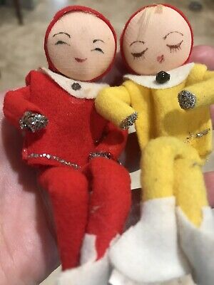 $ CDN26.60 • Buy Lot Of 2 Vintage Christmas PIXIE ELF Ornaments Red Yellow MCM Holiday 50s Decor