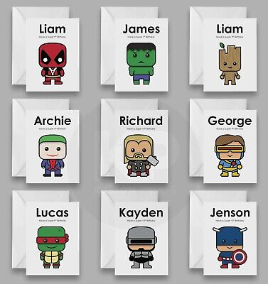 Personalised Name Birthday Card Superhero Boys 4th 5th 6th Son Grandson Any Age • 2.99£