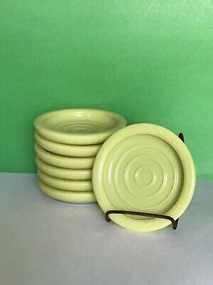 $16.50 • Buy Set Of 7 Vintage Yellow Milk Glass 3.5   Coasters For Tumblers Or Drinks