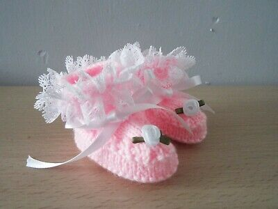 Pink With White Lace & Flower Hand Knit Booties Shoes Frilly 0-3 Month • 3.99£