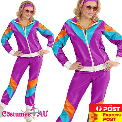 AU34.99 • Buy Ladies 80s Height Of Fashion Costume Purple Neon 1980s Shell Suit Tracksuit