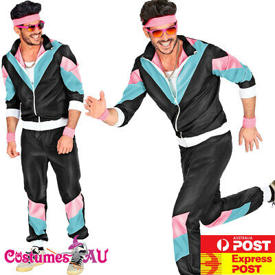 AU34.99 • Buy Mens 80s Costume Height Fashion Scouser Tracksuit Shell Suit Black 1980s Party